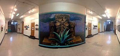 By Chuy Benitez: mural on the wall to the entrance of MECA.
